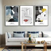 现代简约抽象客厅装饰画艺术北欧挂画沙发背景墙壁画三联画床头画 C款 整套三幅40*60CM(黑色框)