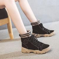 固特异秋冬新款袜套百搭工装靴女舒适休闲风短靴马丁靴女鞋子