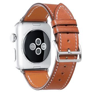 iStrap爱马仕款苹果手表表带iwatch 5/4/3/2/6代表带男女真皮apple watch 单圈款-驼棕色-银色配件 42/44mm