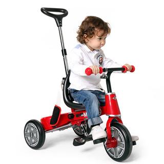 星辉宝马mini折叠儿童三轮车1-3岁手推车宝宝脚踏车童车遛娃神器(【常规版】辣椒红 MINI折叠三轮车)