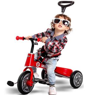 星辉宝马mini折叠儿童三轮车1-3岁手推车宝宝脚踏车童车遛娃神器(【升级版】辣椒红 MINI折叠三轮车+红色遮阳伞+安全护栏)
