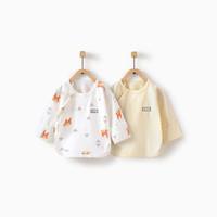童泰婴儿衣服四季半背衣0-3月男女宝宝家居服上装两件装 TS94J163 黄色 52