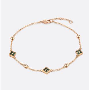 六福珠宝 ENKTBB0003R 孔雀石四叶草18K金手链