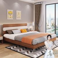 A家家具 床 现代简约板式双人床婚床 卧室家具框架床架子床 1.8米床 梨木色 FA1003-180