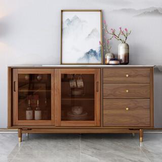 约克美家 新中式实木餐边柜白蜡木客厅大理石茶水柜移门储物柜子 X009餐边柜