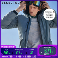 SELECTED思莱德男貉子毛领大口袋中长羽绒服外套S|418412535