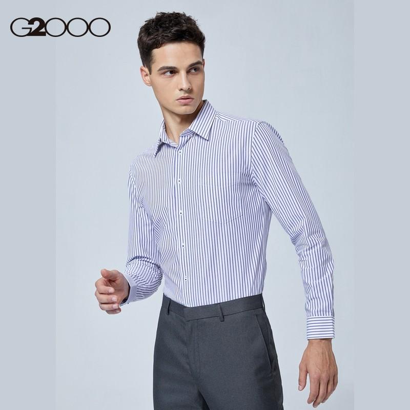 G2000 纵横两千 98140514 男装条纹透气修身衬衫