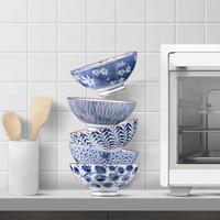 美浓烧(Mino Yaki) 美浓烧餐具陶瓷碗日式家用米饭碗餐具套装礼盒 5.5英寸古染蓝绘-纸盒 *2件