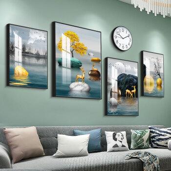 好久不見 現代簡約北歐風格客廳裝飾畫沙發背景墻創意玄關裝飾畫組合掛畫大氣輕奢壁畫 石來運轉(含掛鐘) 小組合(建議2-2.5米墻面)質感黑PS框