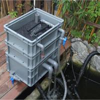 鱼池鱼缸过滤盒锦鲤鱼缸乌龟缸低水位过滤器净化水循环自制周转箱可定做 40*30三层+棉+配件+滤材