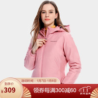 骆驼(CAMEL)珠穆朗玛系列夹棉冲锋衣女加厚潮流百搭款防寒外套 A0W118162 珊瑚粉 XL