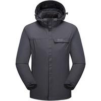 埃尔蒙特ALPINT MOUNTAIN冲锋衣男女户外三合一抓绒两件套 防风防水透气可拆卸保暖外套670-791 灰色 男 XL