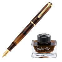 百利金Pelikan德国进口钢笔M200墨水笔24K镀金笔尖 茶色水晶-墨水礼盒 F尖