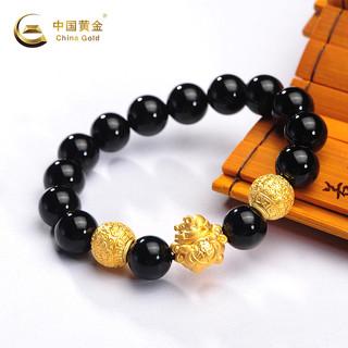 China Gold 中国黄金 中国黄金足金吉祥如意手链黑玛瑙转运珠手串男女新款闺蜜礼物