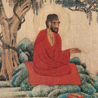 《红衣西域僧图》 赵孟頫 雅昌艺品 背景墙挂画 咖啡实木国画框