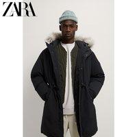ZARA新款 男装 冬季灰鸭绒中长款羽绒服大衣外套 02222312800