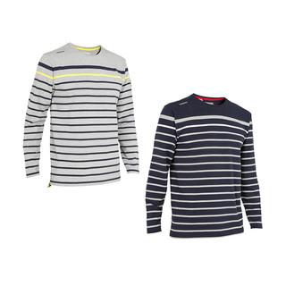 迪卡侬官方旗舰店长袖T恤男士条纹防晒休闲潮流棉质透气夏季帆船(L、灰色)