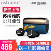 阿思翠(Astrotec) S80国潮版 真无线蓝牙耳机双耳运动跑步降噪游戏音乐苹果华为小米通用 孔雀蓝