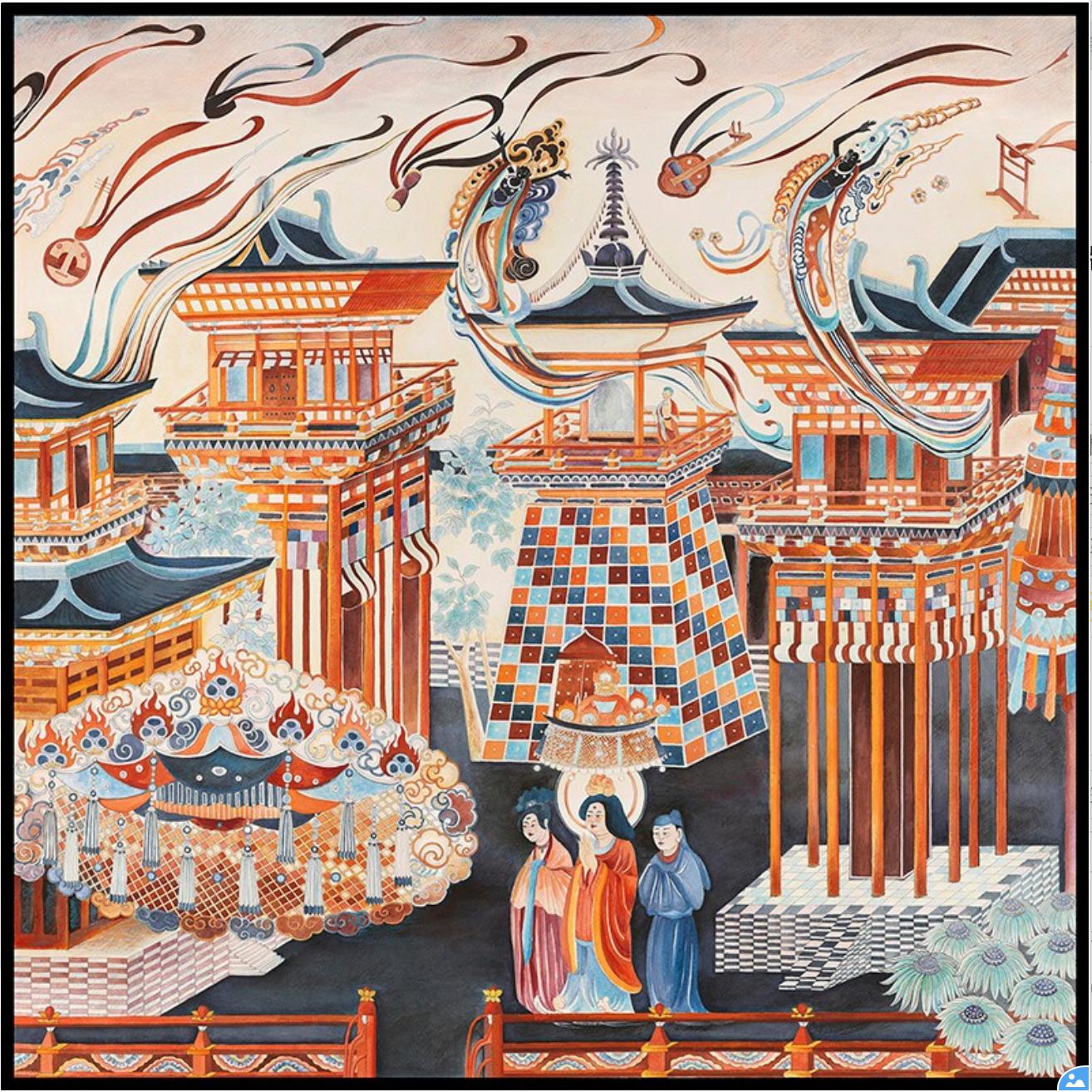 端木良錦 凈土樓闕手繪版畫 家居飾品 75x75cm