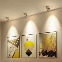 GOGANGLED 明装射灯家用轨道灯天花灯360°可旋转客厅餐厅过道灯玄关灯走廊灯展厅 5021-白色5W 暖光