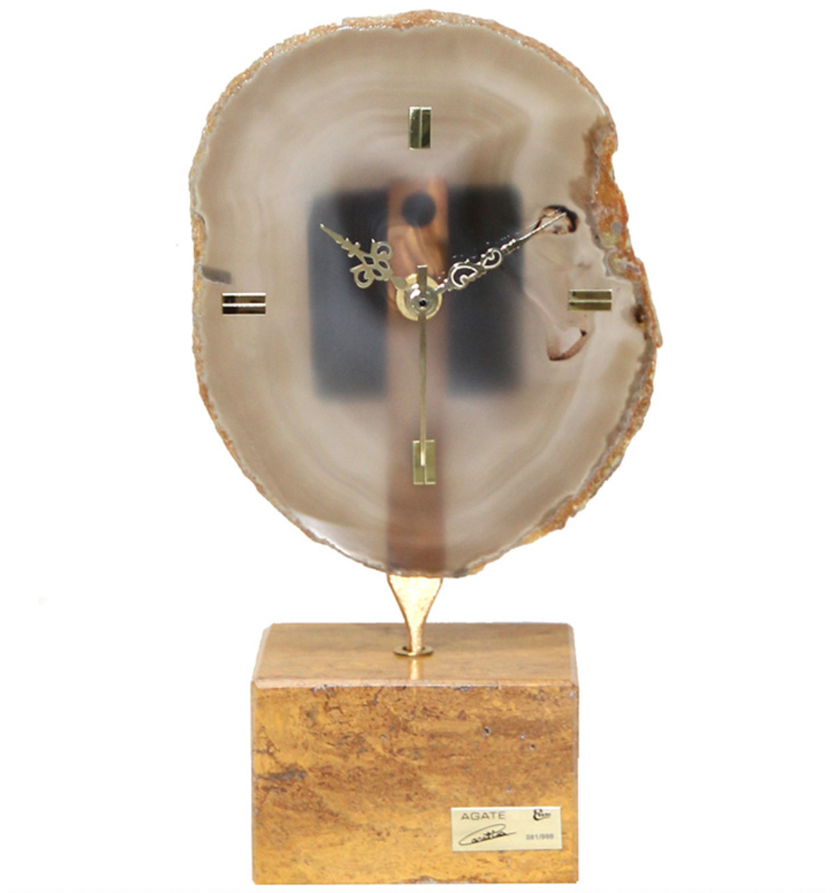阿斯蒙迪 進口天然 水晶瑪瑙 創意座鐘