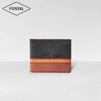 Fossil钱包2020新品欧美复古撞色牛皮短款男小众设计感真皮钱包