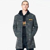 冬季大衣男迷彩中长款羊毛兔毛男装毛呢大衣男士大衣
