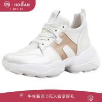 HOGAN 女士Interaction系列运动鞋 休闲鞋 礼盒礼品 白色/金色 37