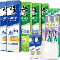 黑人(DARLIE)小苏打120*2+茶(龙井+百里+茉莉)140*3+牙刷2支(款式随机)+40g*2+礼品袋 *3件
