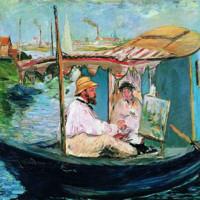 雅昌 马奈《船上画室中的莫奈》88×105cm 装饰画 油画布