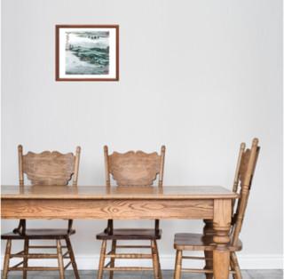 陆俨少 《蒙象册6(具区帆影图)》水墨国画 47×47cm 纸本设色