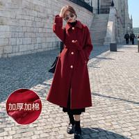 韩版保暖显瘦长款过膝百搭新年收腰毛呢外套女