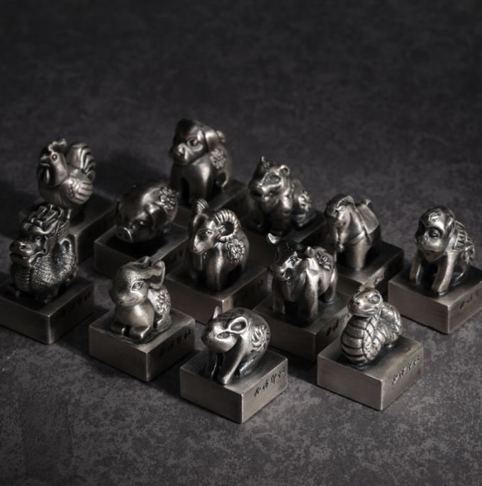 【西泠印社】十二生肖银印章 创意999纯银 实心做旧工艺 收藏纪念