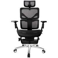 松林人体工学椅家用电脑椅办公椅职员椅老板椅电竞椅升降转椅 幻影黑 + 集成腿托