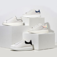 QM增高厚底牛皮休闲运动板鞋彩尾男女同款小白鞋