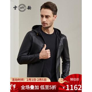 雪豹 头层绵羊皮2020年秋季新款真皮皮衣男皮衣男士轻薄皮连帽外套夹克 黑色 180/100A(52)