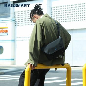 BAGSMART 潮流单肩包情侣款休闲邮差包嘻哈运动包防泼水斜挎包 黑色 s码(该尺码只有黑、绿、黄色)