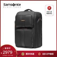 Samsonite 新秀丽 多功能双肩包时尚商务背包电脑包牛皮男包HR4005(黑色)