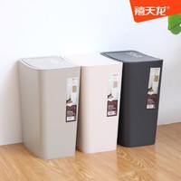 禧天龙 大号创意带盖按压式垃圾桶 家用厨房卫生间办公耐用方形大容量纸篓 圾环保分类塑料垃圾篓 草木灰 12Lplus号