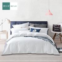 京东PLUS会员 : 源生活 四件套 60支精梳纯棉素色床品套件 纯色床单被套 纯白色1.5米床(200*230cm)