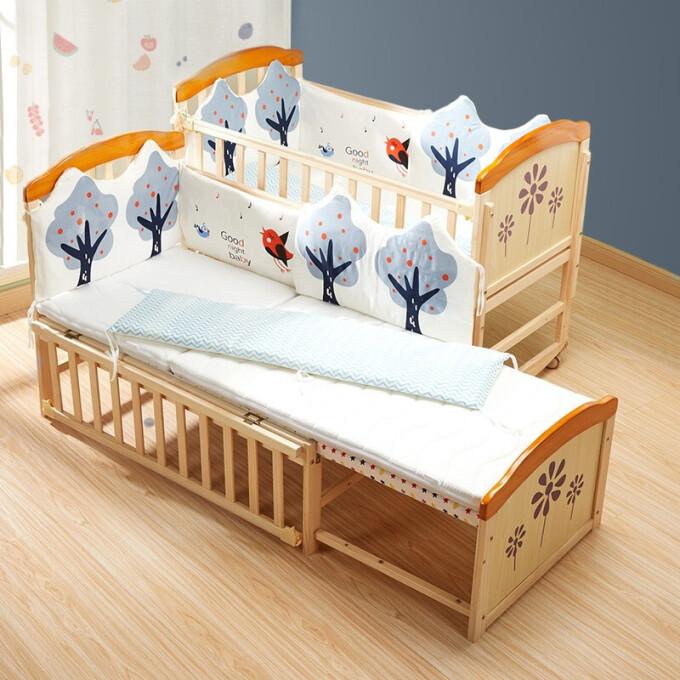 智貝嬰兒床實木無漆多功能帶尿布臺嬰兒護理臺bb寶寶床新生兒可移動搖床可拼接加長兒童床ZB698