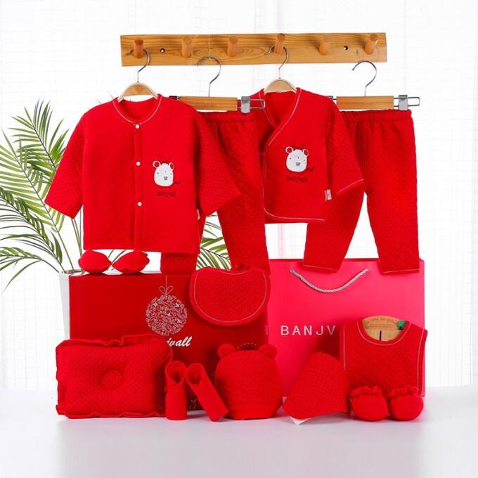 班杰威爾(BANJVALL)嬰兒衣服純棉剛出生嬰兒衣服0-6個月嬰兒用品套裝禮盒滿月送禮 加厚哆哆鼠A款 0-6個月