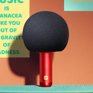 唱吧小巨蛋麦克风Q5绯红色 无线蓝牙音响一体话筒 儿童娱乐电容麦家庭KTV变音器