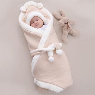 迪咕咪婴儿羊羔绒抱被新生儿包被春秋加厚外出盖毯初生宝宝纯棉包裹被子 杏色 100*100cm