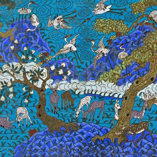 中国风 鹤鹿同春 传统吉祥图案 景泰蓝 骨瓷盘 餐具 摆件