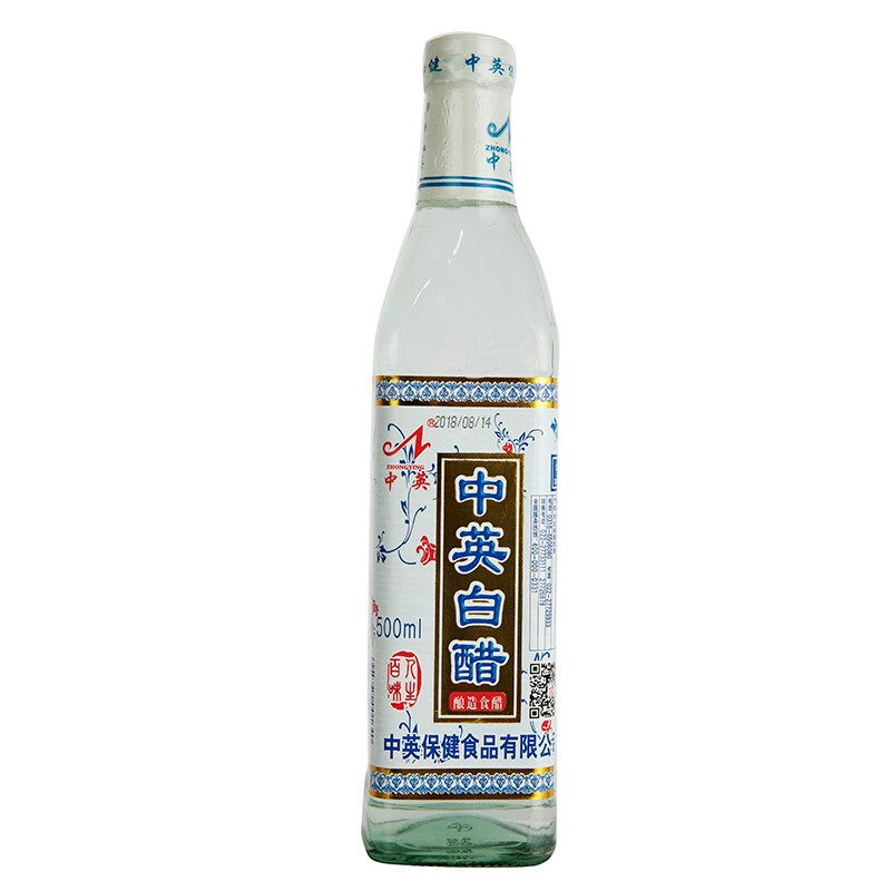 中英 醋 純糧釀造大米醋 涼拌調味 家用清潔白醋 500ml