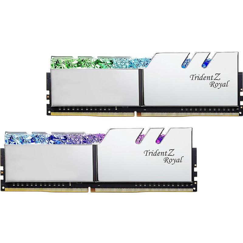 芝奇(G.SKILL)32GB(16G×2)套裝 DDR4 4000頻率 臺式機內存條-皇家戟RGB燈條(花耀銀)