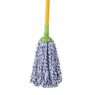 3M 思高一拖净棉线拖布吸水拖把 家用圆头老式传统拖把耐磨墩布拖把头拖把杆带拧干桶套装 棉线拖把一杆两头