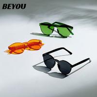 BE YOU 墨镜 一体透明无边框偏光太阳眼镜 C4卡其