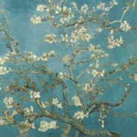 买买艺术 梵高《开花的巴旦杏树》50*40cm 装饰画 油画布